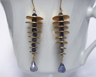 Iolite Cone Earrings- Gold Filled