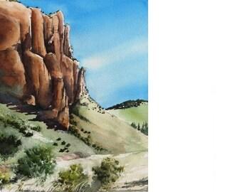 Valle Vidal Cliffs - Original Watercolor Painting