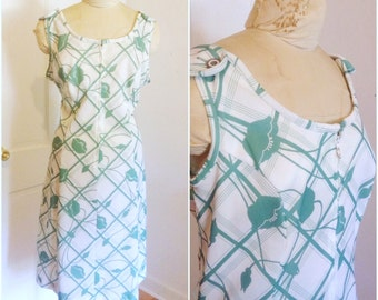 1970er Jahre grün Floral Vintage Pullover Kleid / / XXL, plus Größe 18-20-1 X 2 X