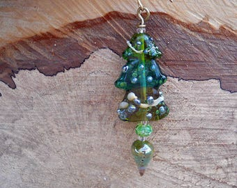 SALE! Green Christmas Tree ornament or sun catcher handmade Lampwork Glass Beads, small Christmas ornament, glass tree pendant, glassbead