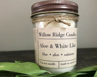 Aloe & White Lilac | 8oz Soy Candle | Fresh Scents | Spring, Summer