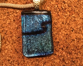 Dichroic Glass Pendant-Dichroic Jewelry-Fused Glass Jewelry- Fused Glass Necklace