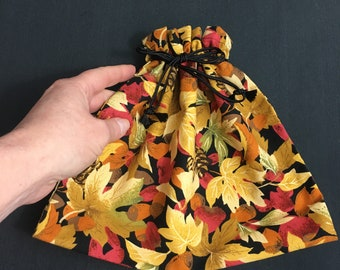 Fall leaves design drawstring fabric gift bag or for cosmetics, jewelry, travel, for teacher, mother, birthday reusable 9 x 10, zero waste