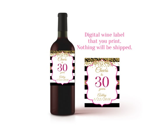 Zeer 30e verjaardag wijn etiket Cheers tot en met 30 jaar 30 @IR-28