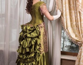 Victorian walk costume, victorian dress, bustle skirt, Made to order