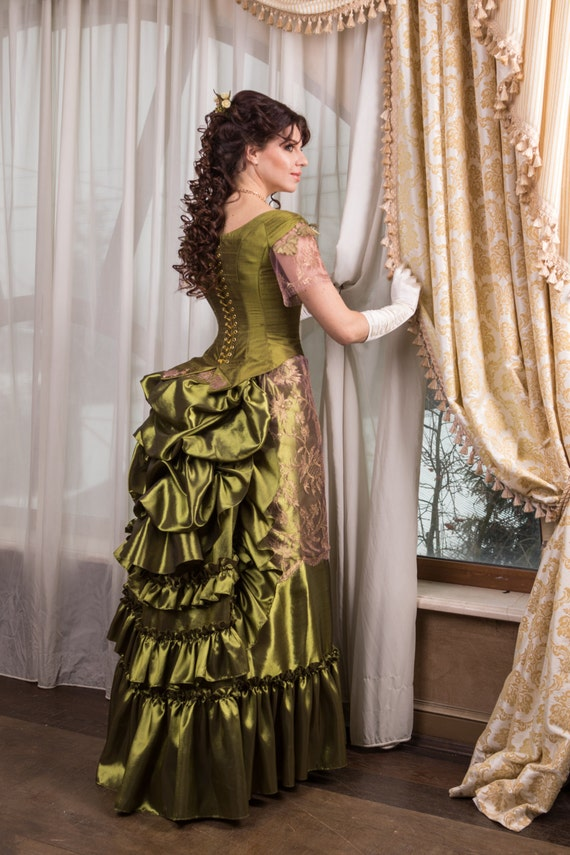 Victorian walk costume victorian dress bustle skirt Made to Victorian Bustle Gowns