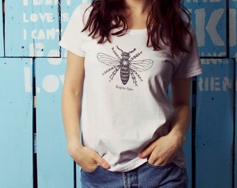 """Feminist Tshirt: """"QUEEN BEE"""" shirt (White) by Fourth Wave Feminist Apparel"""