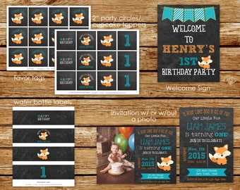 Little Fox Birthday Party Package | Little Fox Chalkboard Invitation | Little Fox Party | Little Fox Invitation |  First Birthday Invites