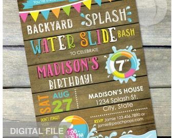 "Splash Water Slide Waterslide Bash Birthday Party Invitation Rustic Wood Country Style Pink - DIGITAL Printable Invite - 5"" x 7"""