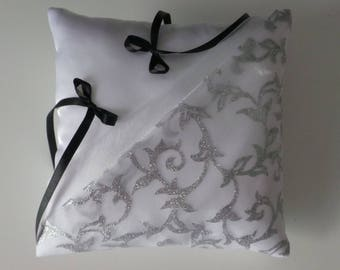 White silver chic ring bearer pillow