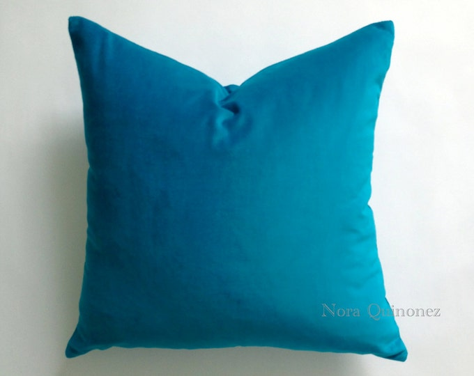Aqua Blue Cotton Velvet Pillow Cover - Decorative Accent Throw Pillows - Invisible Zipper Closure - Knife Or Pipping Edge -16x16 to 26x26