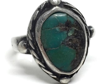 Native American Indian Turquoise Sterling Silver Ring Size 6 1/2, Vintage Navajo Jewelry, Southwestern Bohemian Jewelry, Stone Rings Gift