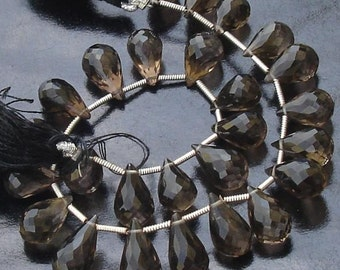 12 Inch,Smoky Quartz Micro Faceted Drops,Very-Very-Finest Quality,10-12mm size aprx.Great Item