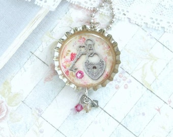 Lock And Key Necklace Silver Key Necklace Shabby Chic Necklace Key Jewelry Victorian Necklace