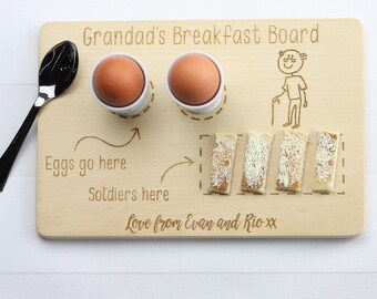 Personalised Custom Wooden Cutting Board For Eggs and Toast. Father's Day Gifts, Grandad gift
