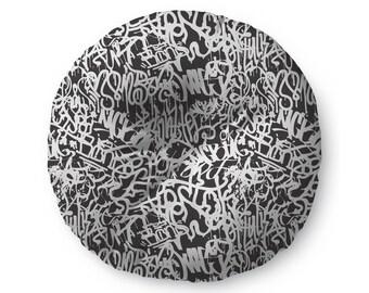 Black and White Graffiti -  floor pillow
