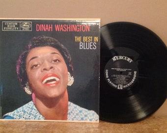 "Vintage Jazz/Blues Vinyl 12"" L P - Dinah Washington ""The Best in Blues"" Mercury Records 1957 orig - Custom Hi Fi NEAR MINT! MG-20247 A"
