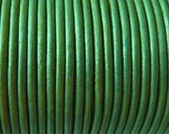 1 m 2 mm Green Blue Metallic PR08.5 leather cord