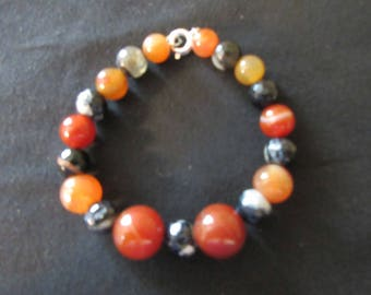 Orange Agate and Black and White Agate Stone Beaded Bracelet - Wrist or Ankle