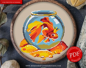 Pretty Little Modern Cross Stitch Pattern of Goldfish for Instant Download *P030 |Easy Cross Stitch| Embroidery File| Cross Stitch PDF