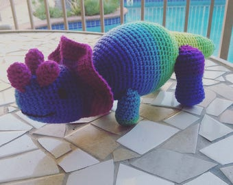 Triceratops Plushie, Triceratops Stuffie, Dinosaur Stuffed Animal, Rainbow Dinosaur, Dinosaur Toy, Triceratops Toy, Purple Toy, Yellow Toy