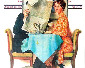 The Morning News - 1976 Norman Rockwell Print - Saturday Evening Post Cover Reproduction - 14 x 10