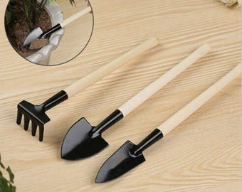 3 accessories mini gardening bonsai or zen garden rake and shovel