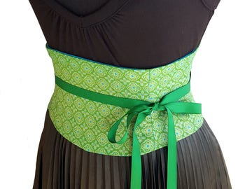 Green Corset Belt / Waist Cincher / Obi Belt / Green Blue Gold Underbust / Steel Boned / Wedding Sash / Renaissance Costume Corset