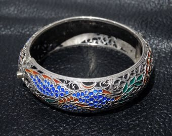 Chinese Enamel Bracelet, Champlevé Sterling Silver, Vintage 1920s