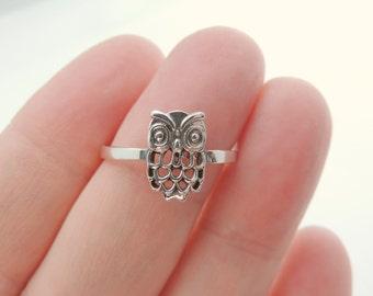 Sterling Silver Owl Ring, Jewelry, Silver, Rings, Owl Jewelry, Owl Rings, Sterling Owl Ring, Fashion Jewelry, Bird Jewelry. Owls, Birds.
