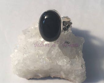 Sterling Silver Black Onyx Ring.