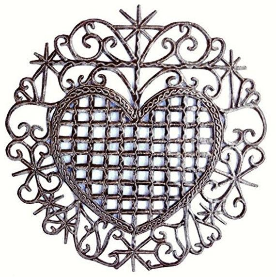 "Recycled Metal Sacred Heart, Veve, Haiti 13"" x 13"""