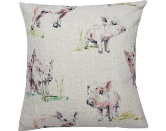 Pig Countryside Animal Print Cushion Cover