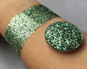 Holographic mint pressed glitter eyeshadow, cosmetic grade glitter, glitter eyeshadow, pressed glitter, mint green eyeshadow