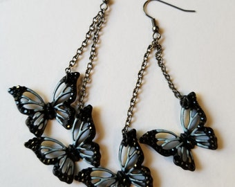 Black and Gray Sparkle Butterfly Earring