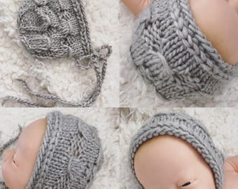 Newborn knit bonnet  in alpaca blend, photo prop,gift,coming home