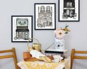 French Building - Set of 3 Prints - Boulangerie - Fleuriste - Cafe - Illustration - Whimsical Prints - Hand Drawn