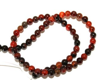6 mm Red and Black Agate Semi Precious Gemstone Beads
