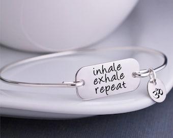 Inhale Exhale Repeat Bracelet, Yoga Jewelry, Meditation Bangle Bracelet, Mindfulness Jewelry