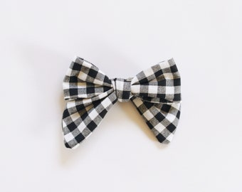 Gingham Fabric Bow Headband OR Clip
