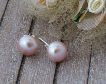 Peach Stud Earrings, Pearl Earrings, Freshwater Pearl Stud Earrings, Pearl Jewelry