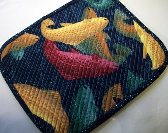 Salmon Fishing Mug Rug Snack Mat Quilt Quiltsy Handmade Quilted FREE U.S. Shipping Father's Day