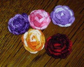 Lots of 5 roses crocheted handmade creation