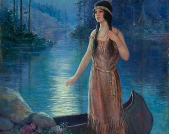 12x18 MOON SONG American Indian Maiden Maid Art Deco calendar Pinup Canvas Giclee Modern early 20th century pin-up Craftsman Homes