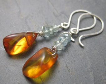 Warm Honey Amber & Aquamarine Earrings -Sterling Silver Dangle Earrings - Smooth Tear Drop Nuggets - Genuine Amber with Golden Glow