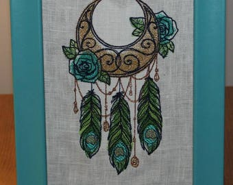Made To Order 4x6 crescent moon dream catcher machine Embroidery on white linen