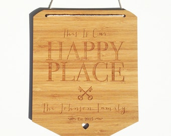 Happy Place Personalised Bamboo Wall Hanging