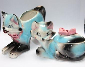Vintage Retro Blue Pink Cats Cream & Sugar Set