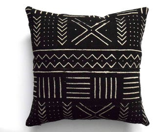 """Authentic African Mudcloth Pillow Cover, Double sided mud cloth pillow, Tibal cover for 20"""" x 20"""" Pillow Inserts"""