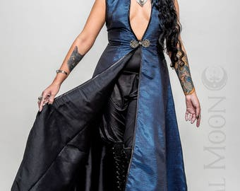 "NEW: The Metallic Blue ""DragonSkin"" REVERSIBLE to Black Opera Vest Hooded Long Dress by Opal Moon Designs (Size S-XXL)"
